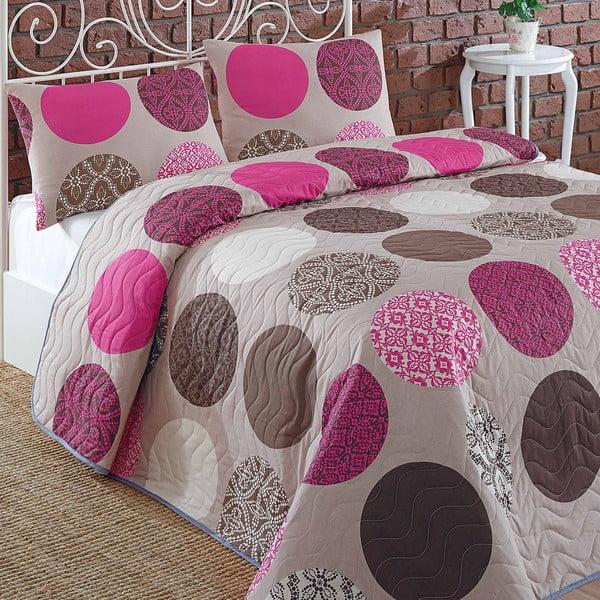Pikowana narzuta z poszewkami na poduszki Karya Pink, 200x220cm
