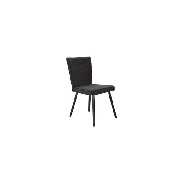 Zestaw 2 krzeseł do jadalni Nils, czarna tapicerka/czarne nóżki