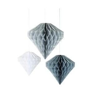 Zestaw 3 papierowych dekoracji Talking Tables Diamond Honeycombs
