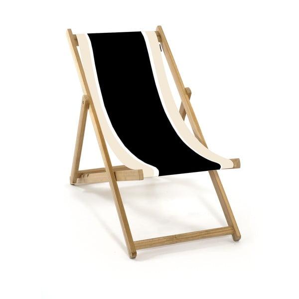 Składany leżak Beach, czarno-biały
