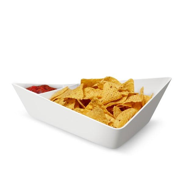 Podwójna miska Chip+Dip Bowl, biała