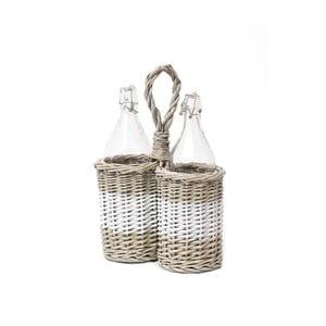Wiklinowy koszyk na butelki z olejem i octem Esschert Design