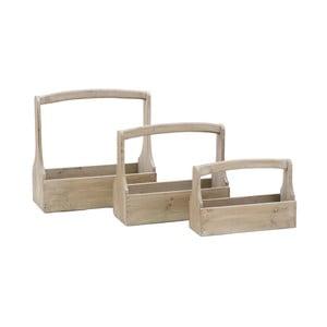 Zestaw 3 skrzynek drewnianych z rączką Ego Dekor