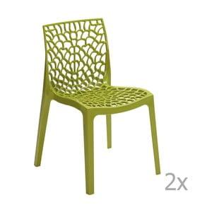 Zestaw 2 zielonych krzeseł Castagnetti Apollonia
