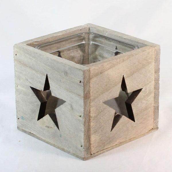 Drewniany świecznik Gwiazda, 9 cm