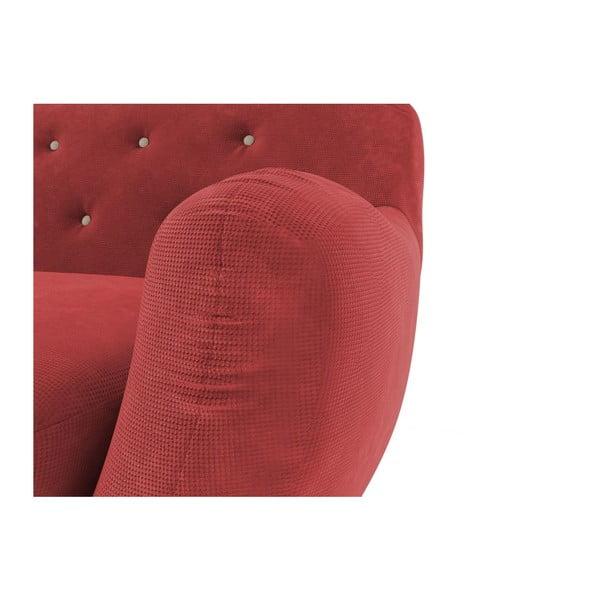 Czerwona   sofa dwuosobowa z jasnobeżowymi guzikami Wintech Zefir Sun
