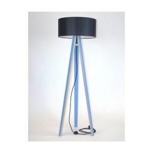 Niebieska lampa stojąca z czarnym abażurem i czarnym kablem Ragaba Wanda