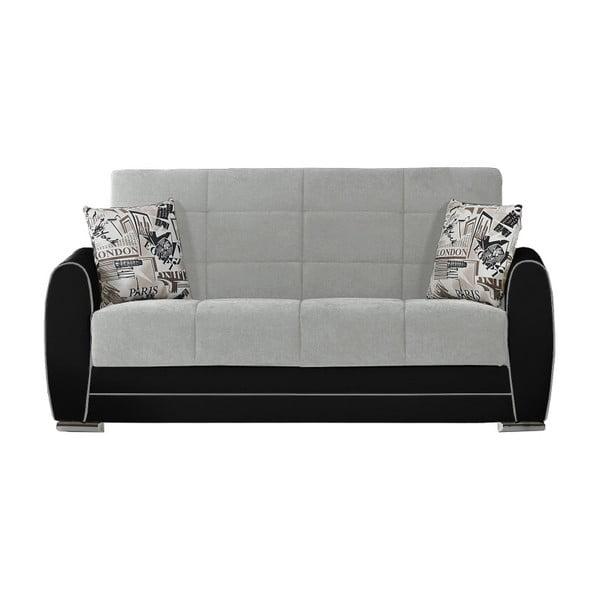 Jasnszaro-czarna dwuosobowa sofa rozkładana ze schowkiem Esidra Rest