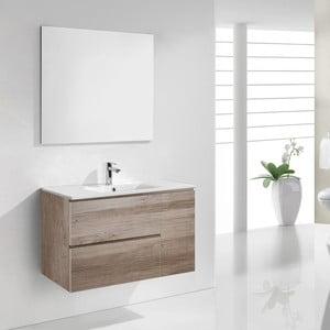 Szafka do łazienki z umywalką i lustrem Happy, motyw dębu, 80 cm
