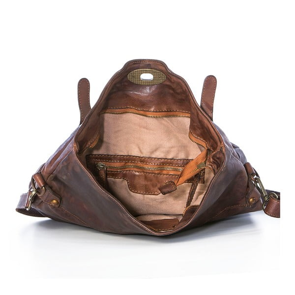 Ciemnobrązowa torebka skórzana Federica Bassi Rana