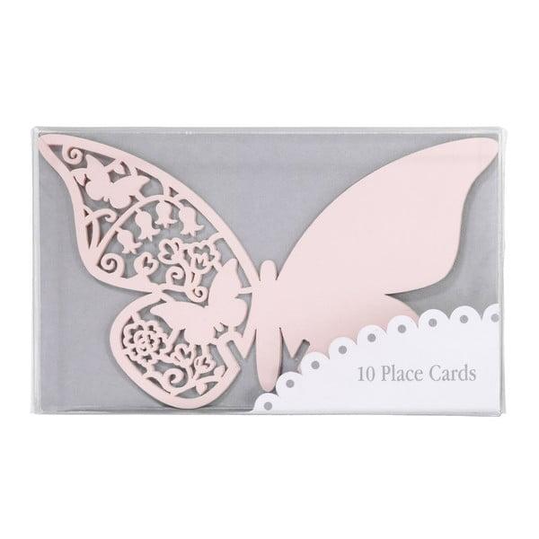 Komplet 10 znaczników/winietek Butterflies, różowy