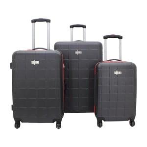 Zestaw 3 czarnych walizek na kółkach Friedrich Lederwaren Todo