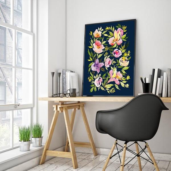 Plakat z fioletowymi kwiatami, 30 x 40 cm