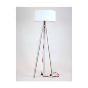 Biała lampa stojąca z białym abażurem i czerwonym kablem Ragaba Wanda