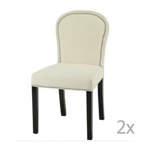 Zestaw 2 kremowych krzeseł z ciemnobrązowymi nogami Artelore Lauren