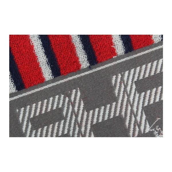 Ręcznik bawełniany BHPC 50x100 cm, niebiesko-czerwony