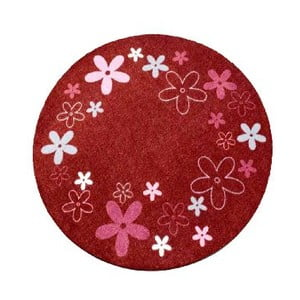 Dywan Deko - czerwony w kwiaty, 100 cm