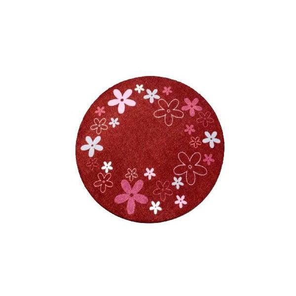 Czerwony dywan dziecięcy Hanse Home Kwiaty, ⌀100cm