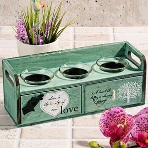 Drewniany świecznik z szufladkami Love