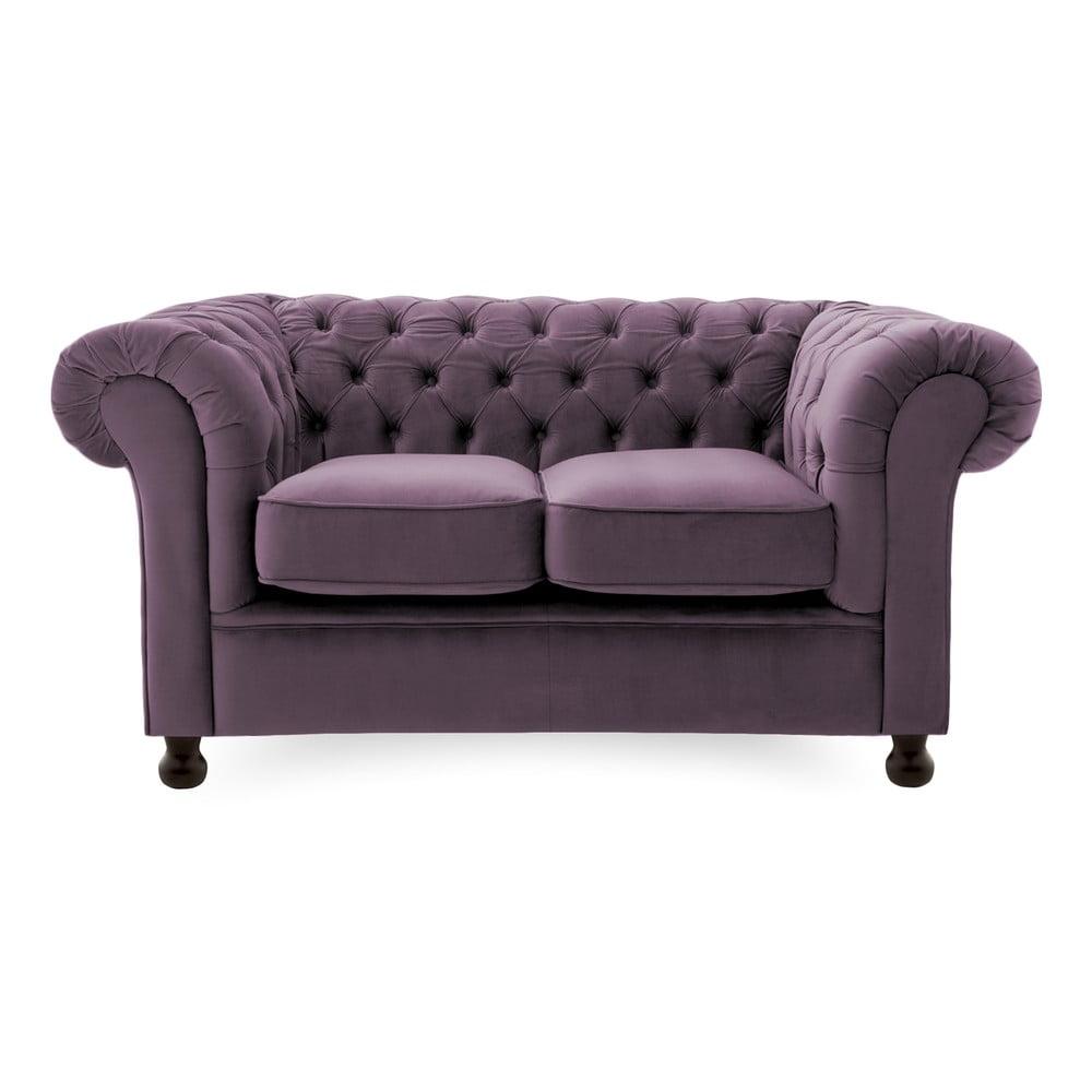 Fioletowa sofa 2-osobowa Vivonita Chesterfield