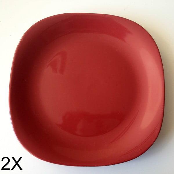 Zestaw 2 głębokich talerzy, czerwony