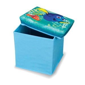 Niebieski puf ze schowkiem na zabawki Domopak Living Finding Dory, dł. 30cm