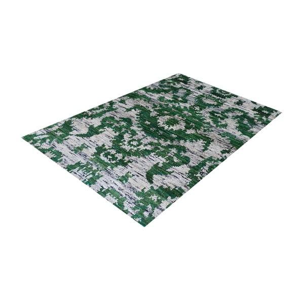 Zielony dywan wełniany Ikat, 230x160 cm