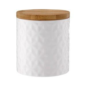 Biały porcelanowy pojemnik z bambusowym wieczkiem Ladelle Halo Flower, wys. 12cm