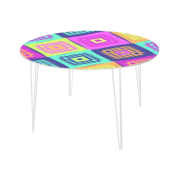 Stół do jadalni Colorful Triangles, 120 cm