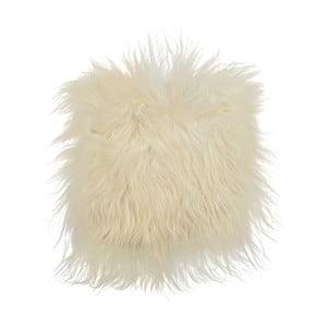 Biała poduszka futrzana do siedzenia z długim włosiem, 37x37 cm