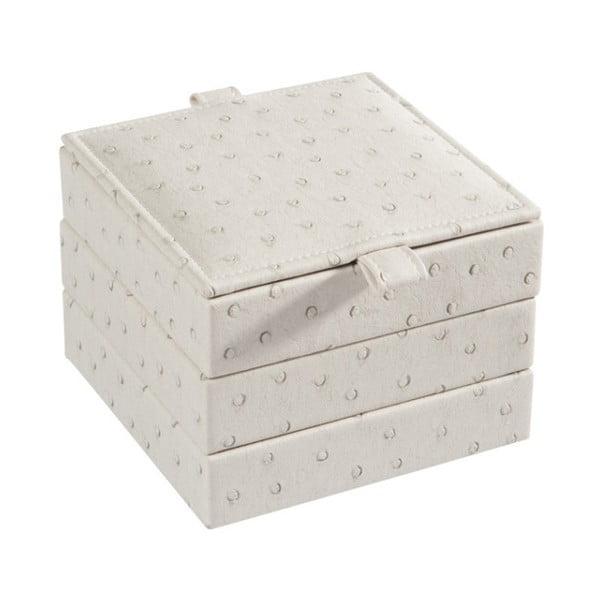 Kremowa szkatułka na biżuterię J-Line, 14x14x11,4 cm