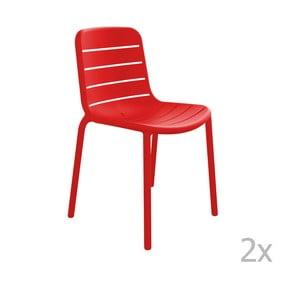 Zestaw 2 czerwonych krzeseł ogrodowych Resol Gina