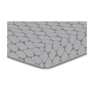 Szare prześcieradło elastyczne z mikrowłókna DecoKing Rhombuses, 140x200 cm