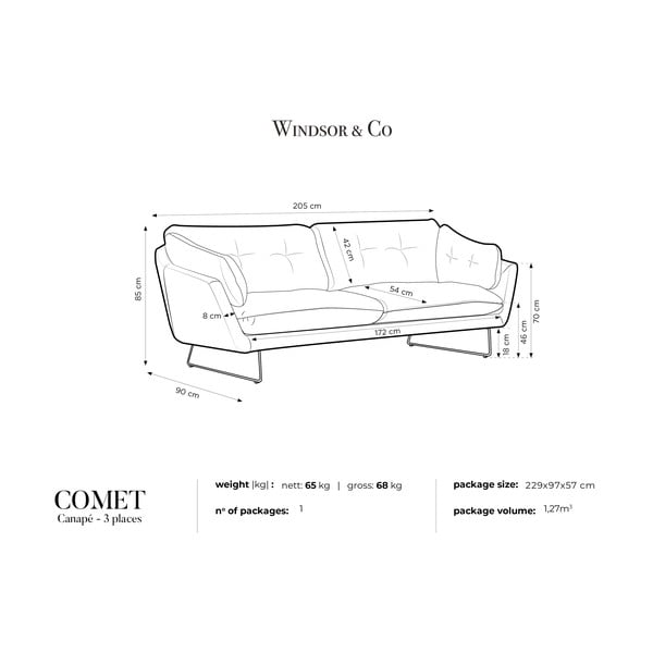 Różowa 3-osobowa sofa Windsor & Co Sofas Comet