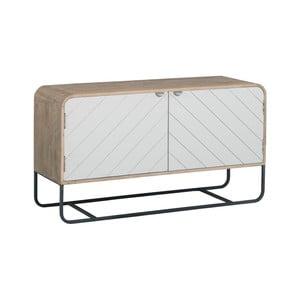 Brązowo-biały szafka pod TV z litego drewna mangowego Woodjam Chevron