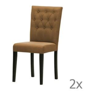 Komplet 2 krzeseł Monako Etna Brown, czarne nóżki