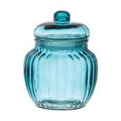 Szklany pojemnik Ribbed Blue, 12x14 cm