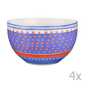 Komplet 4 misek porcelanowych Oilily 15 cm, niebieski