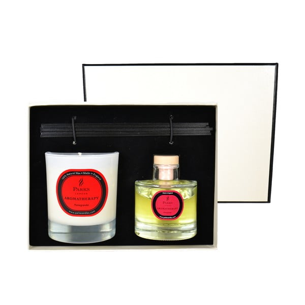 Podarunkowy zestaw świeczki i dyfuzoru Aromatherapy, zapach granatu