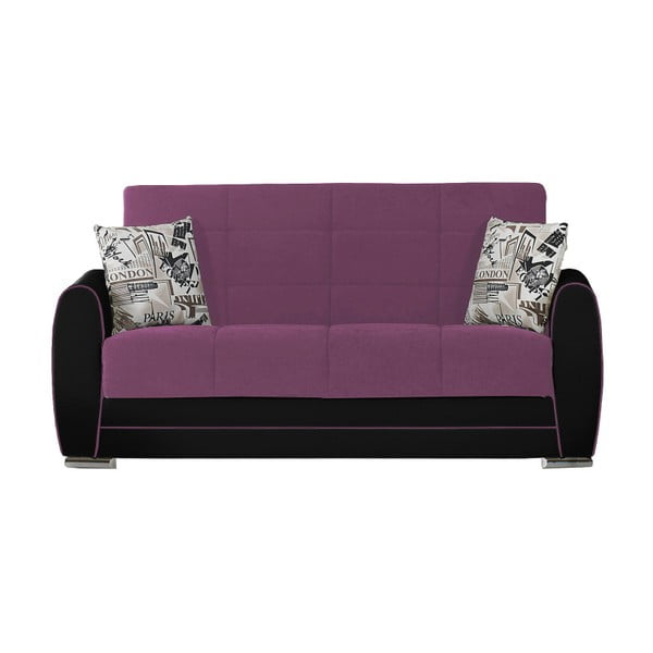 Karminowo-czarna dwuosobowa sofa rozkładana ze schowkiem Esidra Rest