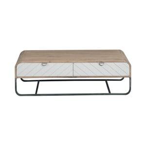 Brązowo-biały stolik z litego drewna mangowego Woodjam Chevron