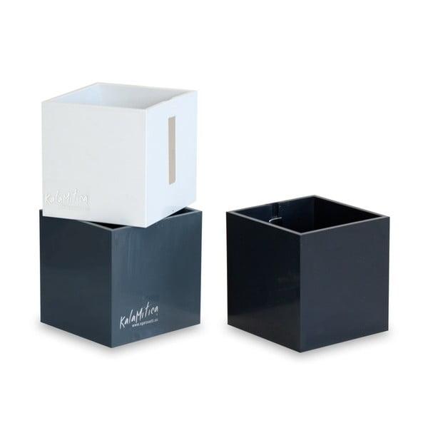 Zestaw 3 magnetycznych doniczek Cube Black, średni