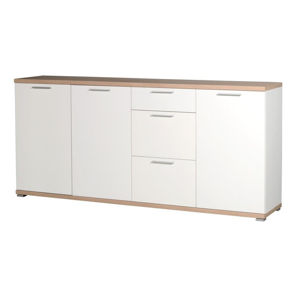 Biała 3-drzwiowa komoda z szufladami z dekorem dębu Germania Top