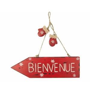 Czerwona tablica dekoracyjna Antic Line Bienvenue
