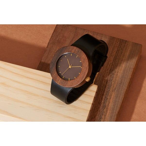 Drewniany zegarek z zaznaczonymi godzinami (kreski) Analog Watch Co. Leather & Blackwood