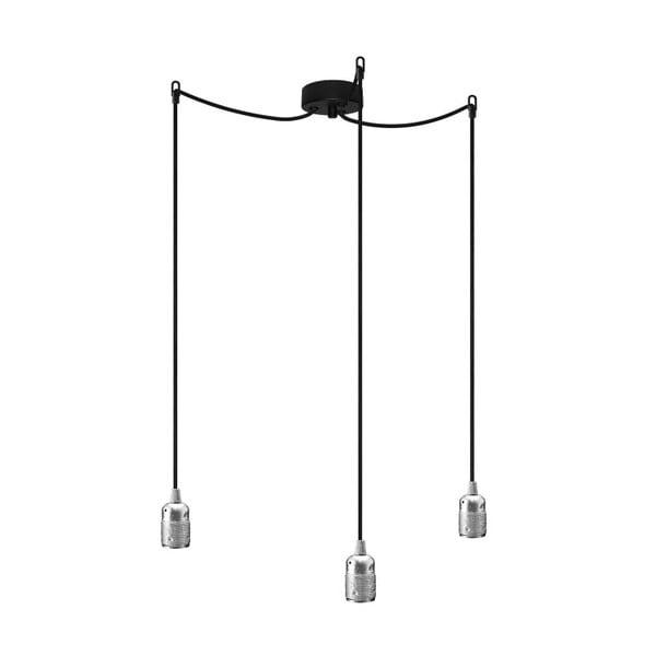Czarno-srebrna potrójna lampa wisząca Bulb Attack Uno
