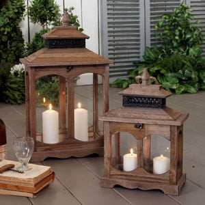 Zestaw lampionów Wood Orchidea, 2 szt.