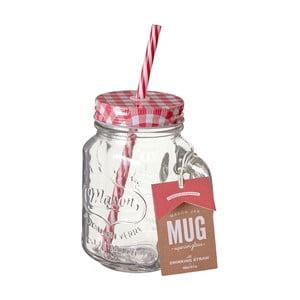 Szklanka z czerwoną słomką i wieczkiem Premier Housewares, 450 ml