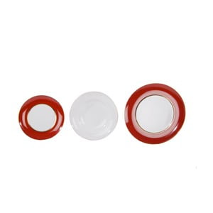 Komplet 18 talerzy ceramicznych Roma Red