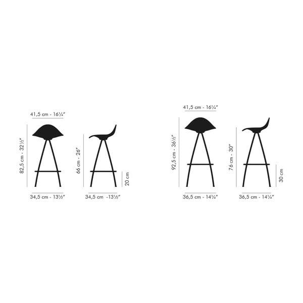 Stołek Onda 66 cm, kremowy/błyszczące nogi